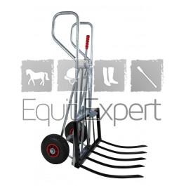 Le chariot à bras articulé pratique est idéal pour transporter les bottes de foin et pour enlever le fumier de cheval directement du box sans effort.