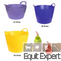 Seau flexible FlexBag vert, violet, rouge, bleu ou jaune de 12,28 ou 42 litres avec poignées pour les chevaux.