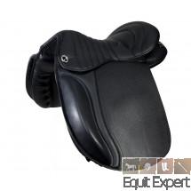 Selle pour cheval de trait 18 pouces en cuir de vachette avec arcade très large, siège matelassé et surpiqué. PFIFF 004509