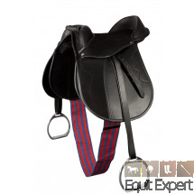Selle pour poney équipée de sangle, étriers et étriveres, selle ajustable grâce aux panneaux amovibles (Velcro). PFIFF 100211