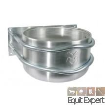 Mangeoire ronde en aluminium. Montage droit ou en angle pour les chevaux.